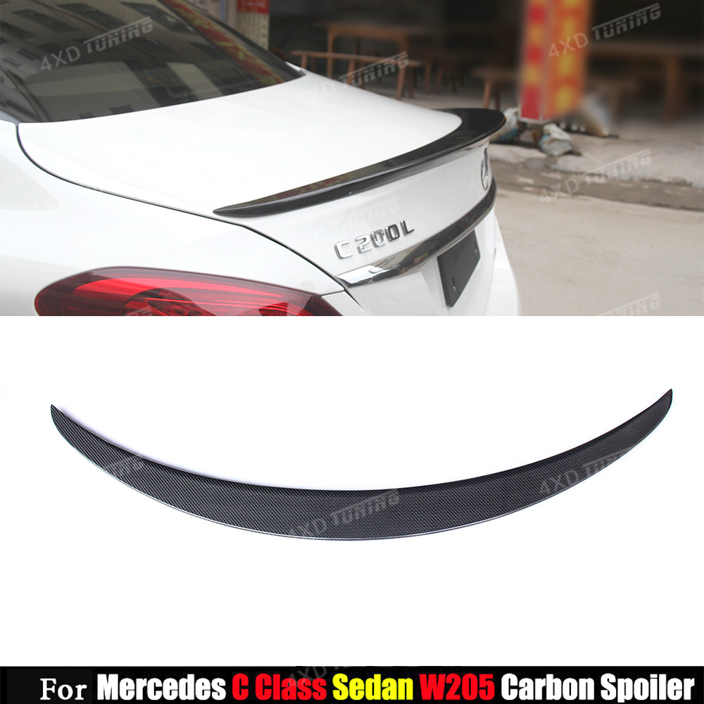 For Mercedes W205 Spoiler AMG Style C Class W205 C180 C200 C220 C250 C300 Carbon Fiber Rear Spoiler Trunk Wing Sedan 2014 - UP amg style w205 carbon fiber rear trunk spoiler for mercedes benz w205 c180 c200 c220 c250 c300 c350 c400 c63 amg 2015 2017