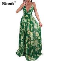 Missufe Boho Deep V Neck Off Shoulder Beach Maxi Dress Women Summer Chiffon Tunic 2018 Beach Holiday Floral Print Long Vestidos