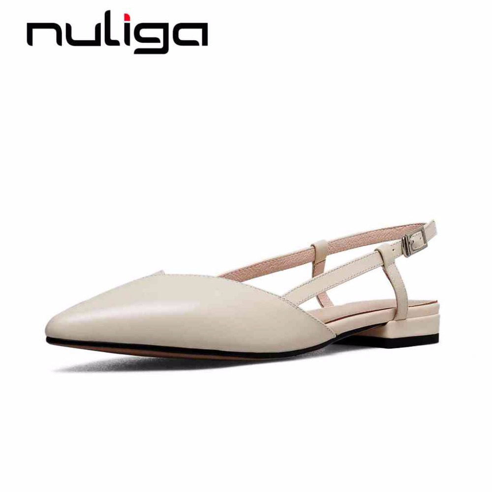 Nuliga office lady pointed toe slingback buckle strap solid low heels concise style career woman superstars cozy sandals L3f2
