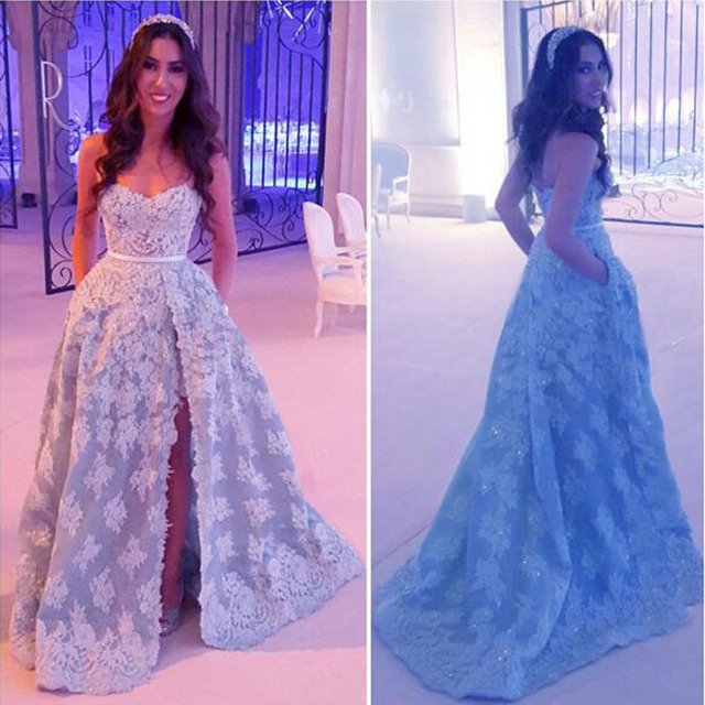 2016 Luxury Arabic Indian Evening Dresses Sweetheart Lace Applique ...