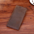 Men's Genuine Leather Long Bifold Wallets Purse Card Case