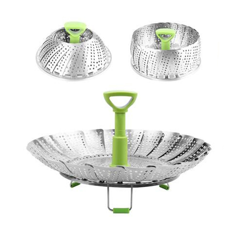 Stainless Steel Steam Basket With Handle Folding Steamer Rack Fruit Vegetable Vapor Steaming Cookware Cooking Tool