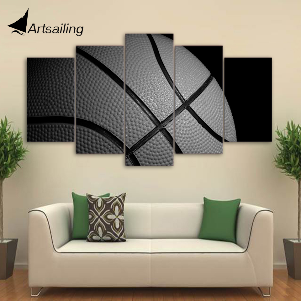HD Printed 5 Piece Canvas Art Basketball Painting Framed