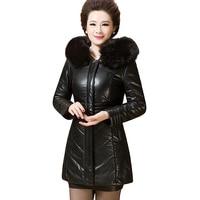 2017 new winter women coat plus size XL 6XL warm outwear wool leather jacket slim was thin thick parka female Hooded Jacket LU44