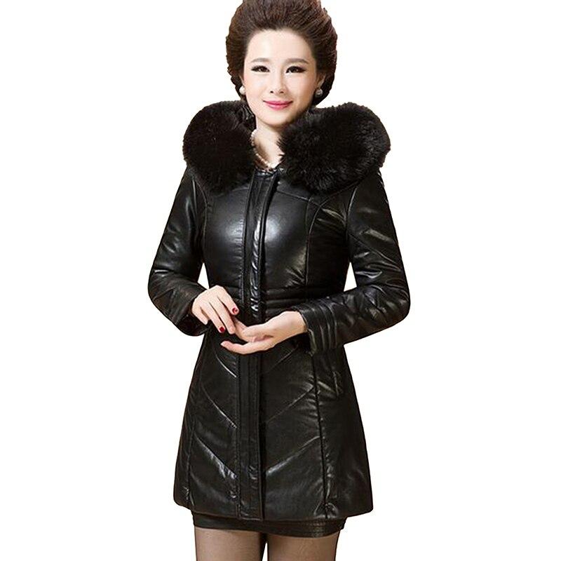 2017 new winter women coat plus size XL-6XL warm outwear wool leather jacket slim was thin thick parka female Hooded Jacket LU44