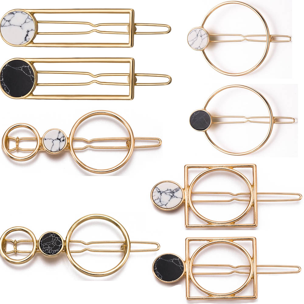 2020 Retro Fashion Women Girls Metal Circle Square Hair Clips Natural Stone Hairpins Barrettes Wedding Hair Clip Accessories