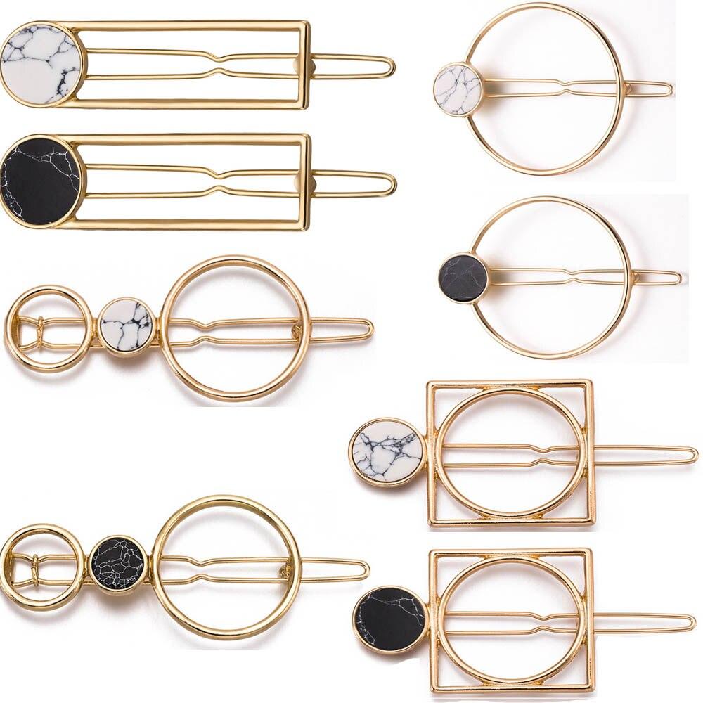 2020 Retro Fashion Women Girls Metal Circle Square Hair Clips Natural Stone Hairpins Barrettes Wedding Hair Clip Accessories