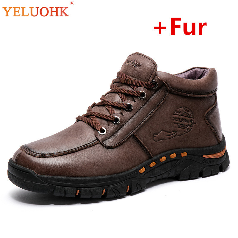 Winter Boots Men Genuine Leather Winter Shoes Men High Quality Plush Warm Safety Shoes Winter Men Boots men boots plush warm men shoes winter pu leather winter boots men winter shoes