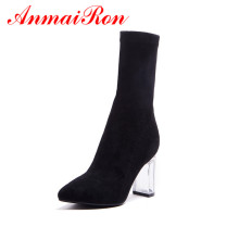 цены ANMAIRON Female shoes Cow Suede Thick Heel Ankle Boots Fashion Zipper Pointed Toe Women Fall Winter Black boots Bootie CR1003
