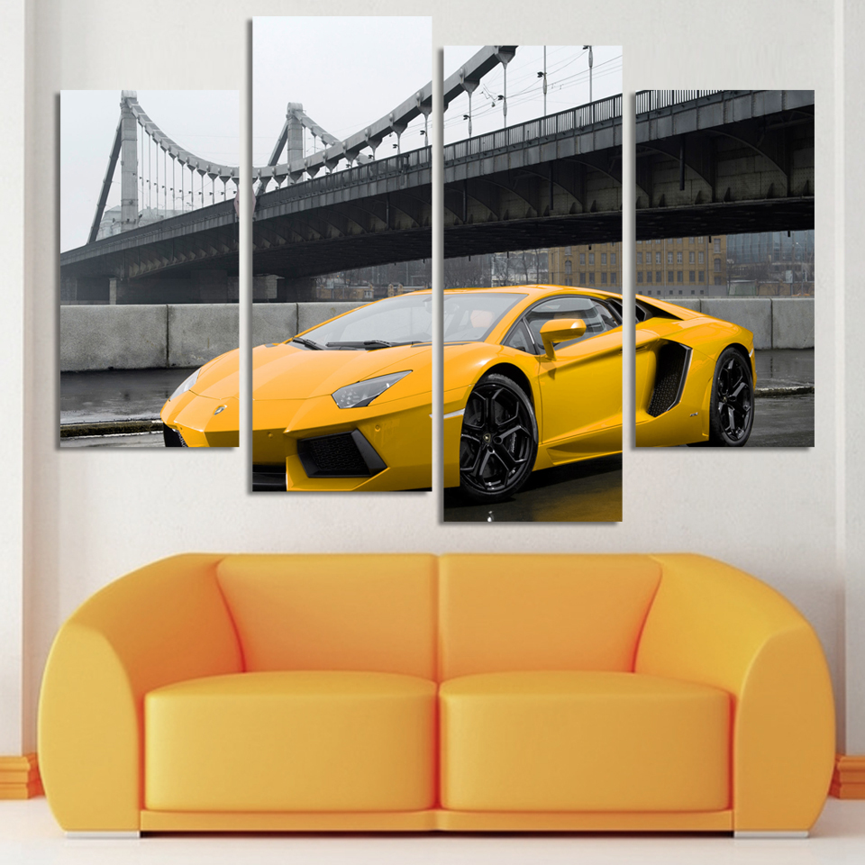 Fashion sport car Painting home Decoration for living room 4 Pcs HD ...