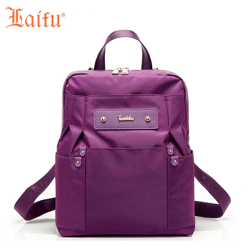 LaiFu Designer Fashion Backpacks School Bag for girls Women Bag Famous Brand Nylon Canvas Waterproof Travel