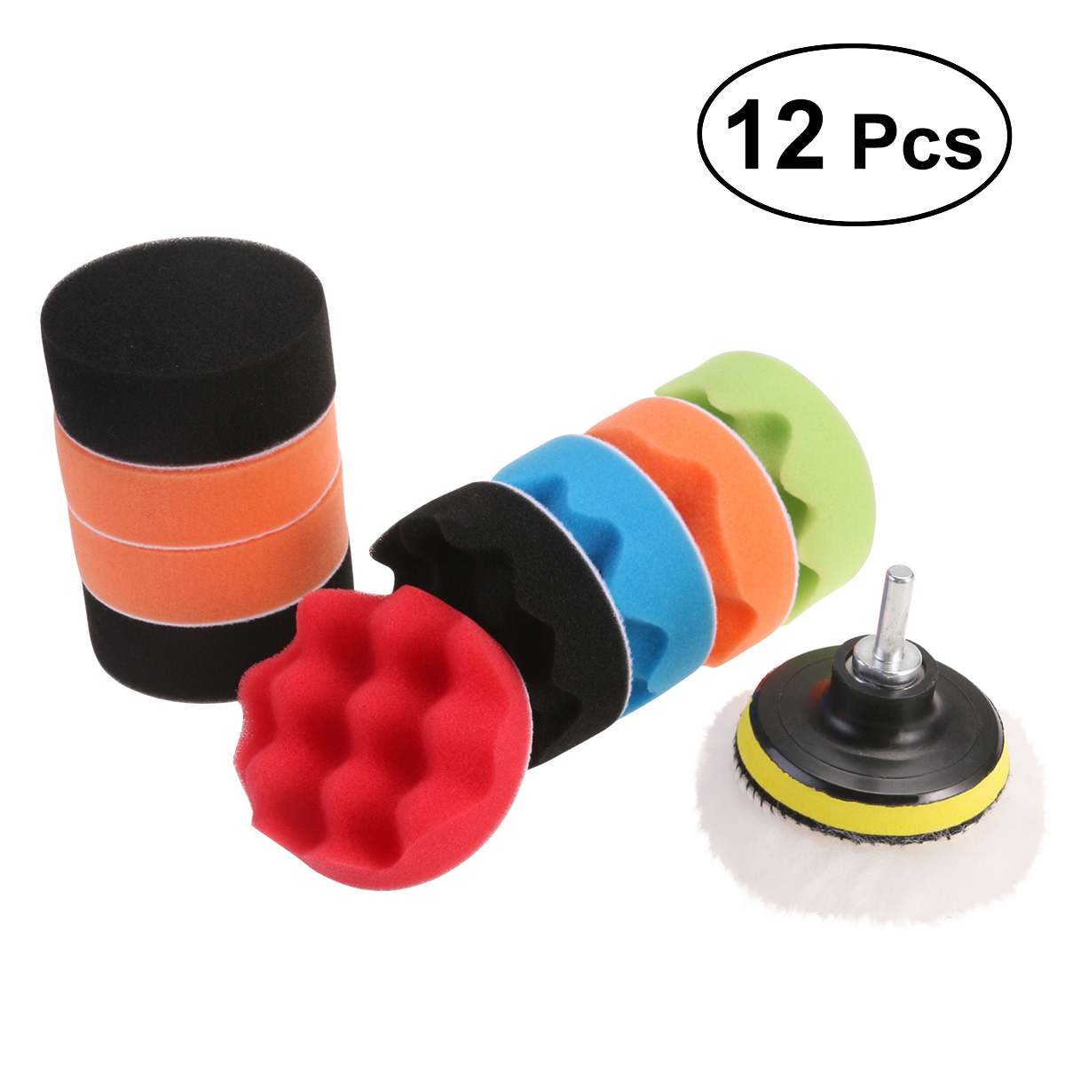 12 pcs/lot 3/4/5/6/7 inch Polishing Pads Sponge & Woolen Polishing Waxing Buffing Pads Kit Auto Car with M10 Drill Adapter makeup sponge 5 pcs