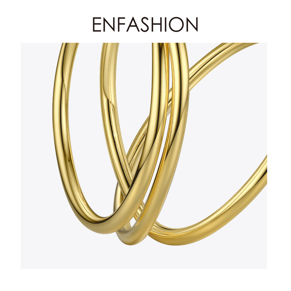 Image 5 - ENFASHION Multi layer Circle Stud Earrings For Women Punk Geometric Simple Line Earings Statement Fashion Jewelry Oorbellen 1032Stud Earrings   -