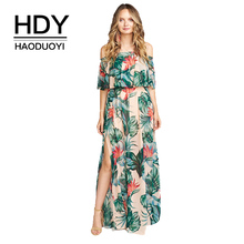 HDY Haoduoyi Women Loose Floral Print Off Shoulder Ruffles Floor Dress Casual Strapless Tube Split Side Maxi Dress On Beach stylish strapless sleeveless flower print women s maxi dress