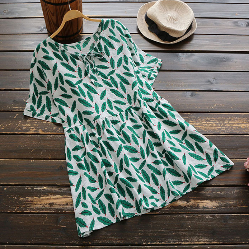 YSMILE Y Summer Fashion Print Slim Shirt Cotton Linen Short Sleeve O-Neck Casual Daily All Match Women Tops Tie Up Blouse Female