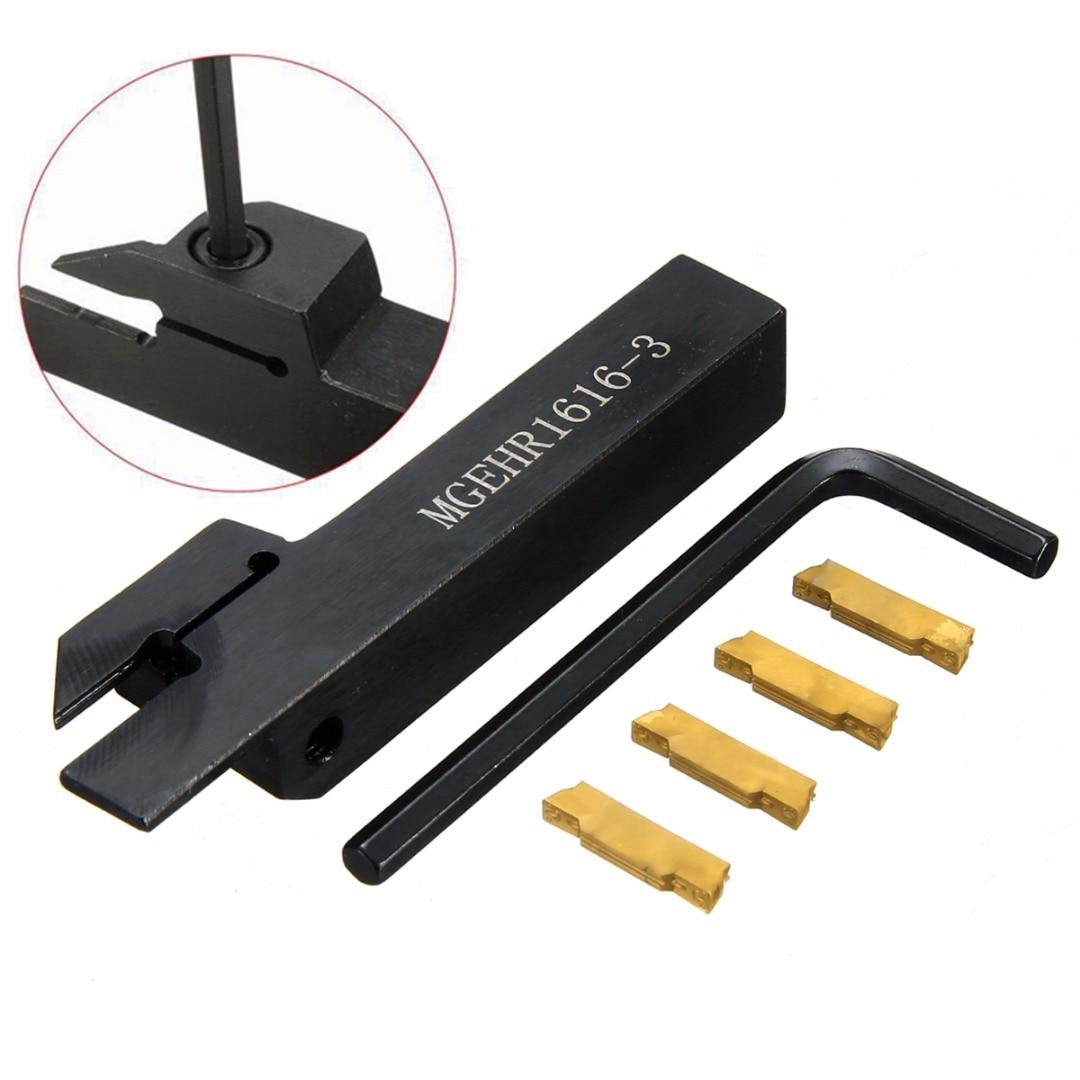 1 pz MGEHR1616-3 CNC Tornio Strumento Holder 100mm Lunghezza Noioso Bar + 4 pz Dorato MGMN300 Inserti In Metallo Duro con chiave