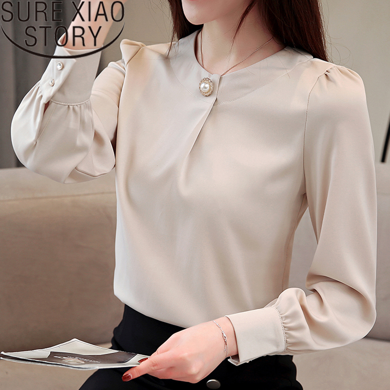 womens tops and blouses  blusas mujer de moda 2018 chiffon blouse Office Lady Beading Solid O Neck women shirts dress 1875 50-in Blouses & Shirts from Women's Clothing on AliExpress - 11.11_Double 11_Singles' Day 1