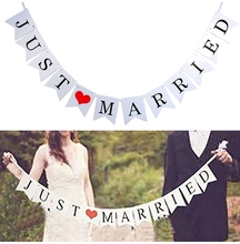 Romantic Lincaier White Just Married Wedding Bunting Banner Photo Booth Props Paty Paper Photobooth Decoration