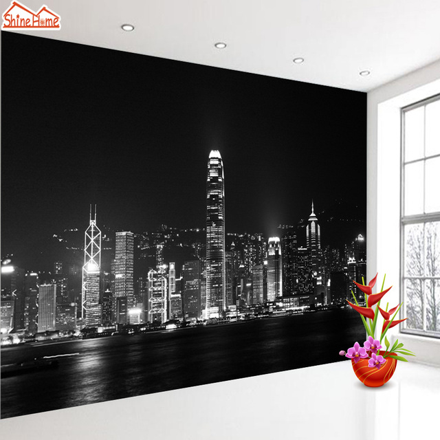 ShineHome Black And White Night City Wallpaper Murals For 3 D Living Rooms 3d Walls