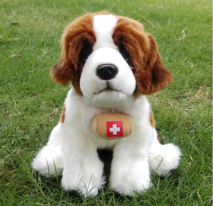 Simulation Stuffed Animal Toy St. Bernard Dog Doll Plush Toys For Children Gift  Search And Rescue Dogs cute labrador big plush toy lying dog doll search and rescue stuffed toys children birthday gift pillow