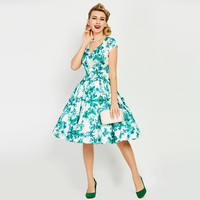 Sisjuly Vintage Dresses 1950s 60s Summer Knee Length Women Green Short Sleeves Floral Print V Neck