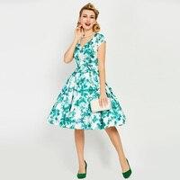 Sisjuly Vintage Dresses 1950s 60s Summer Knee Length Women Green Short Sleeves Floral Print V Neck