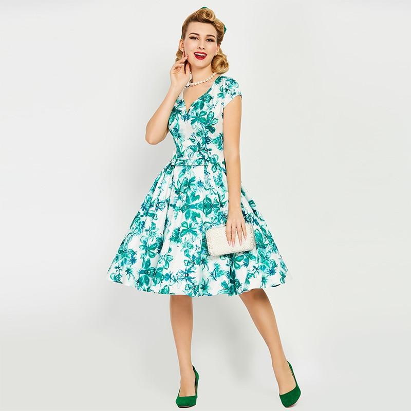 Sisjuly Vintage Dresses 1950s 60s Summer Knee Length Women ...