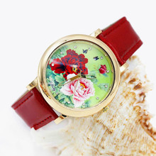 Shsby bright Leather Strap Watches Rose Gold Women Dress Watch girl flower Casual wristwatch Lady Rhinestone Quartz Watch 02