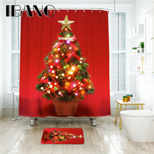 IBANO Christmas Shower Curtain Waterproof Polyester Fabric Bathroom And Floor Mat Decorations For Home
