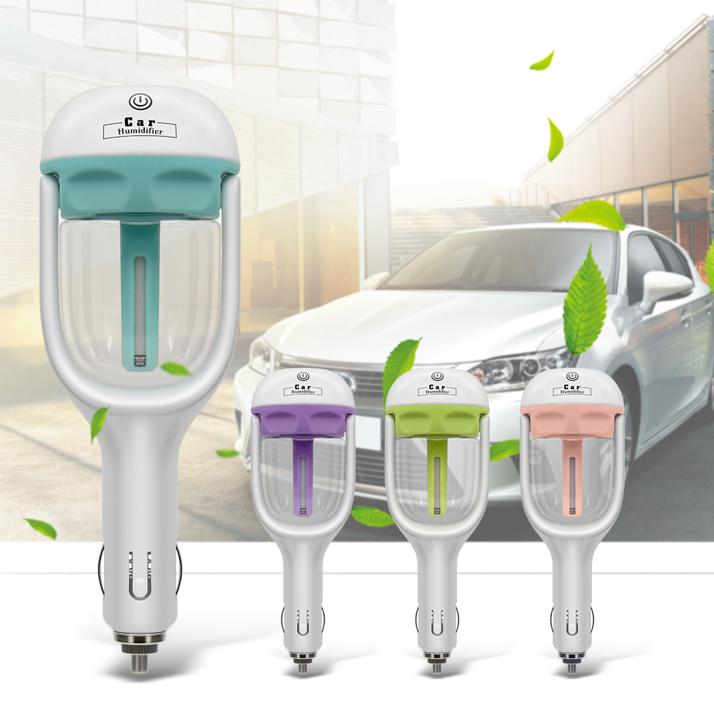 12V Car Air Purifier with Essential oil Aroma Diffuser and Steam Humidifier to Reduce Dust and Bacteria