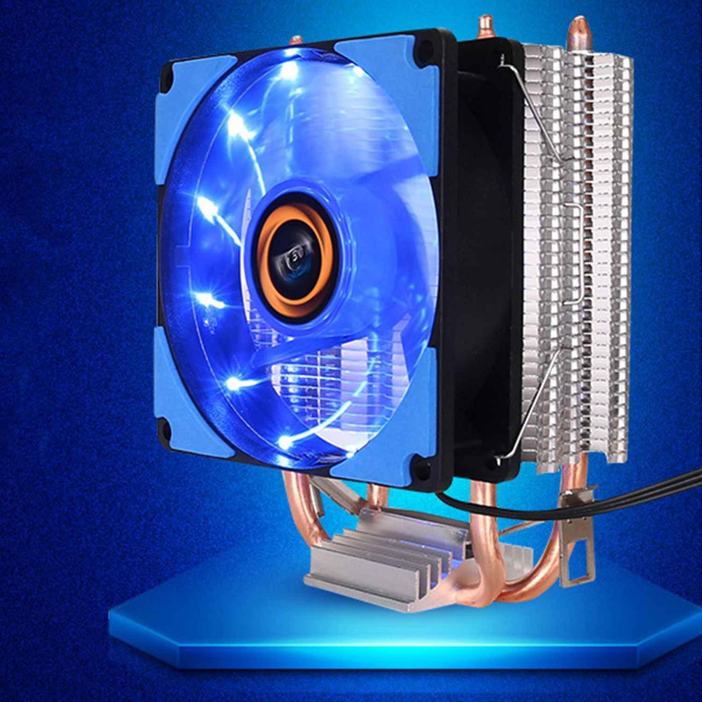 CPU Kühler 2 Heatpipes Blau LED CPU Fan Lüfter Computer-Fan Kupferfarben Aluminium Kühlkörper für LGA 775/115x /AM2/3/4x79