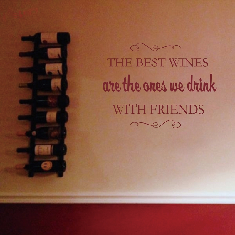 WINE Cellar Bar Pub Vinyl WALL DECALS ART DECOR - BEST WINES WITH FRIENDS WALL STICKER ...