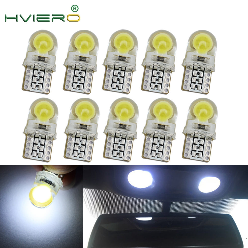 10X Auto Led White Blue 194 LED 168 COB Silica Auto Marker Wedge Lamp Turn Side License Plate Light Parking Bulb DC 12V