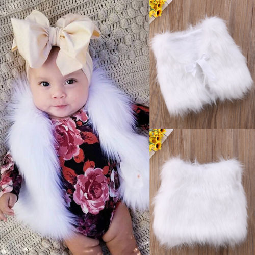 Fashion Kids Baby Boys Girls Faux Fur White Vest Waistcoat Warm Wrap