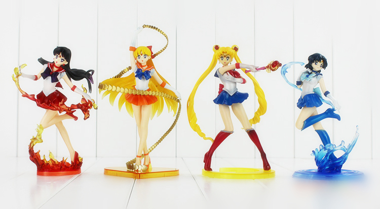 5 Style 15-20cm PVC Sailor Mars Jupiter Mercury Venus Sailor Moon Figure Accessories Usagi Sailor Moon Action Figure Doll