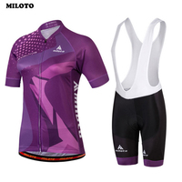 MILOTO Team Cycling Jersey Bicycle Wear Ropa Ciclismo Women's Breathable Bib Shorts Outdoor MTB Clothing Set Purple
