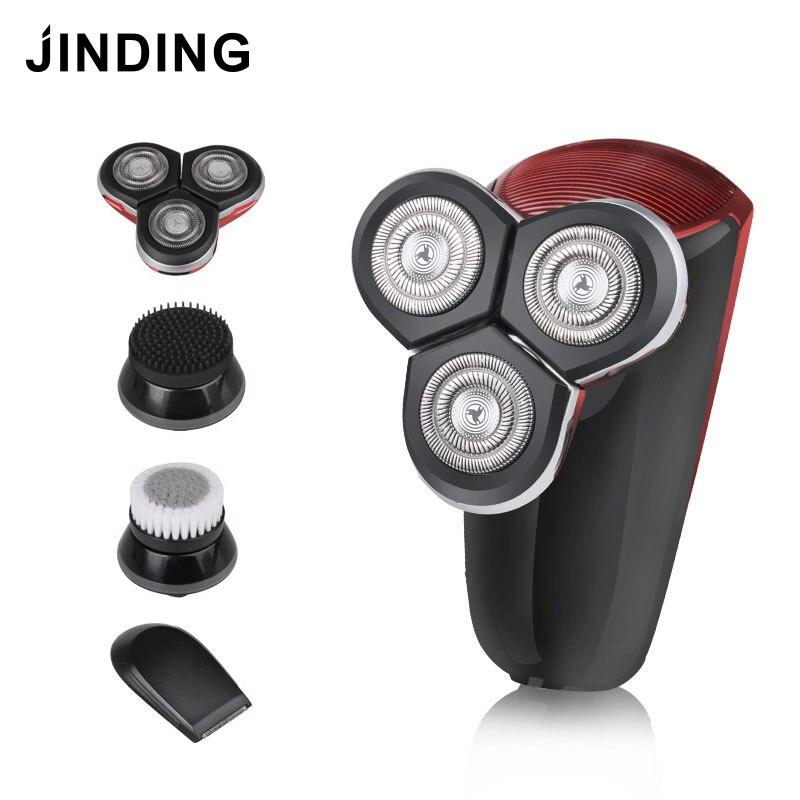 JINDING Rechargeable hommes rasoir électrique rasoir barbe cheveux rasoir 4 en 1 lavable 3D Triple lame flottante têtes soins du visage
