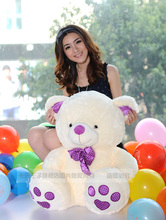 creative foot print design white teddy bear doll about 35 cm bear plush toy ,birthday gift  x111