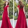 Red Eleglant Women Maxi Party Dresses 2017 Summer Casual Deep V Neck Pleated Short Sleeve Floor