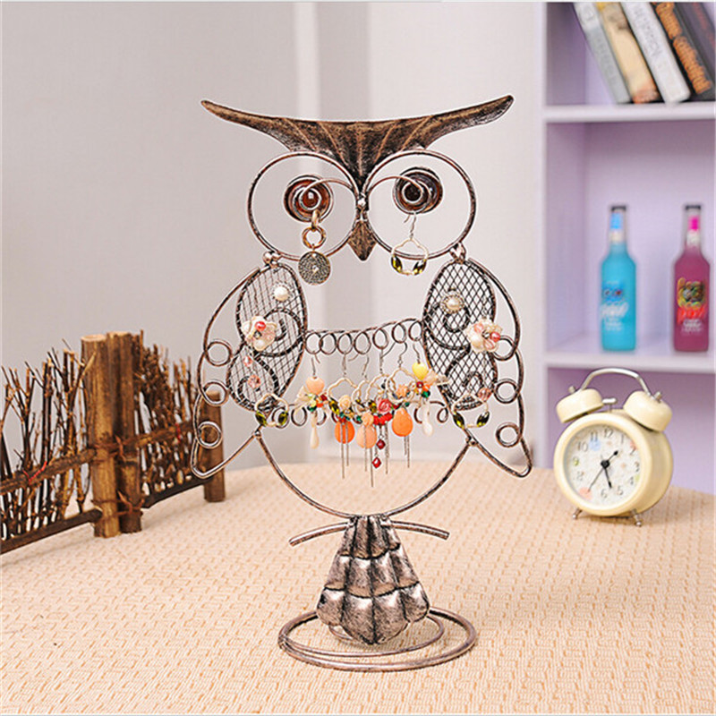 women Vintage Owl shape Earrings Jewelry Ornament Display frame Rack Metal Holder metal Convenient Jewelry Showcase