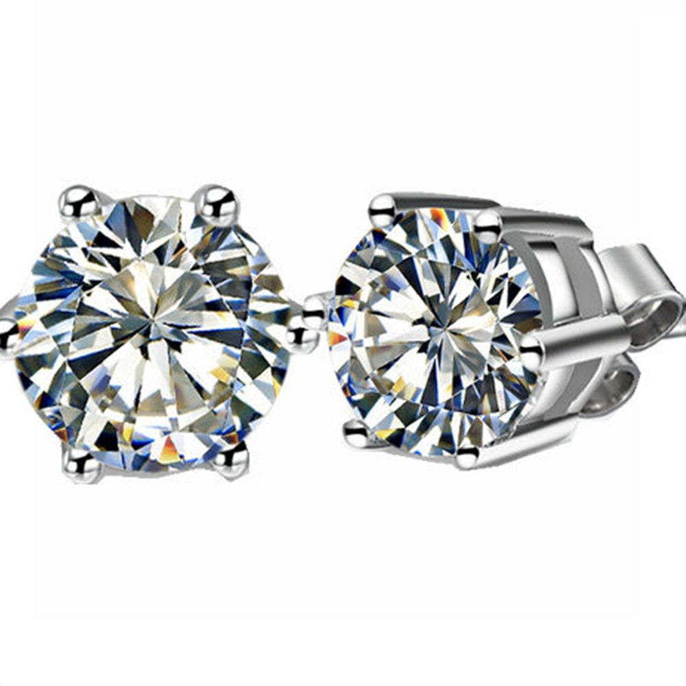 Piece Round Cut Lab Grown Simulate  Diamond Stud Earrings