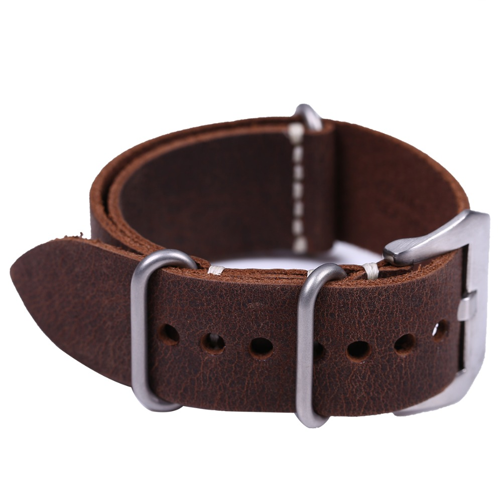 EACHE Handmade High Quality Genuine Leather ZULU Watch Strap Band 20mm 22mm 24mm with Silver Stainless Steel Large Buckle eache 26mm hand made crazy horse genuine leather replacement watch band strap fit for garmin fenix 3 silver black buckle