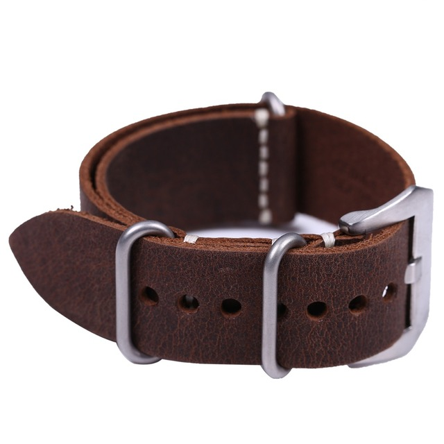 Handmade High Quality Genuine Leather ZULU Watch Strap&Band 20mm 22mm 24mm with Silver Stainless Steel  Large Buckle