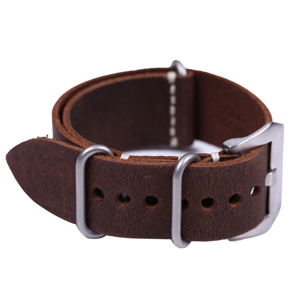 Prix pour Main de Haute Qualité En Cuir Véritable Bracelet ZULU et Bande 20mm 22mm 24mm avec Argent En Acier Inoxydable grande Boucle