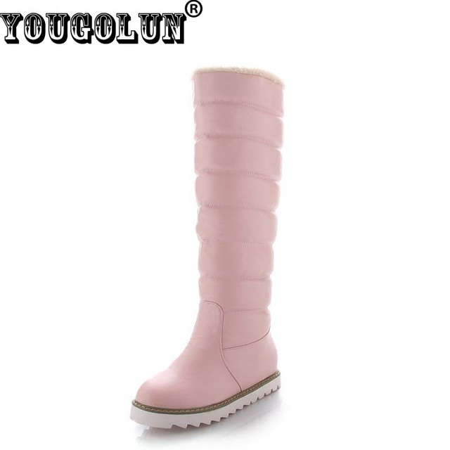 YOUGOLUN Women Winter Snow Boots Knee High Fashion Lady Height Increasing Boots Sexy Woman Black White Pink Round toe Warm Shoes