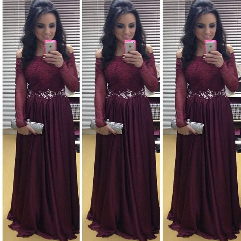 Popular Plus Size Burgundy Prom Dresses Sleeves-Buy Cheap Plus ...