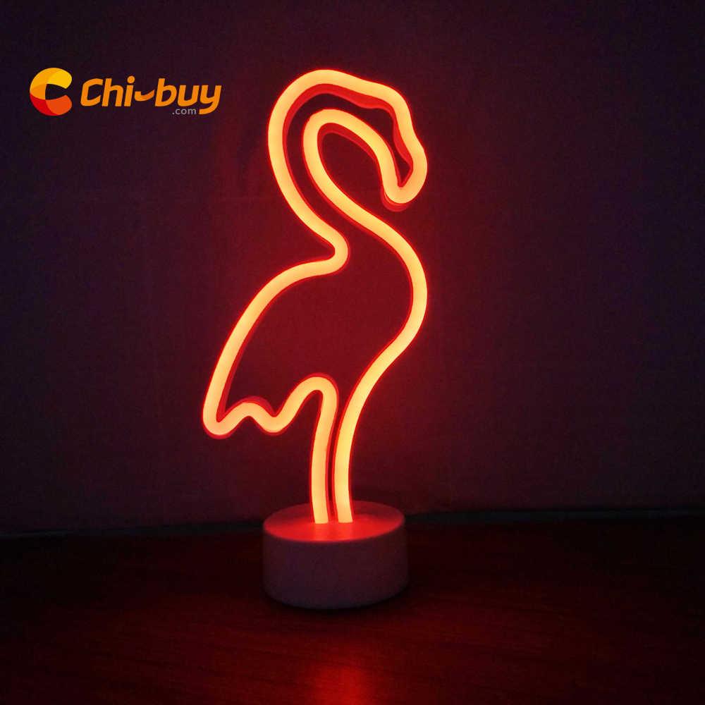 CHIBUY Flamingo LED Neon Light sign Home Wedding Holiday Decoration Table  Neon sign light Desktop Home Decoration Lamp