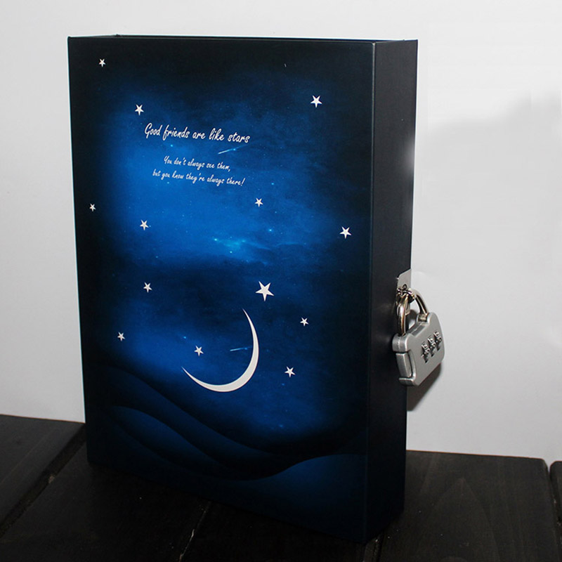 Starry sky Diary with lock Vintage Notebook Notepad paper 144 Sheets Office School Supplies Note book gift hot diary with lock code leather notebook paper128 sheets notepad note book creative trends pringed office school supplies gift
