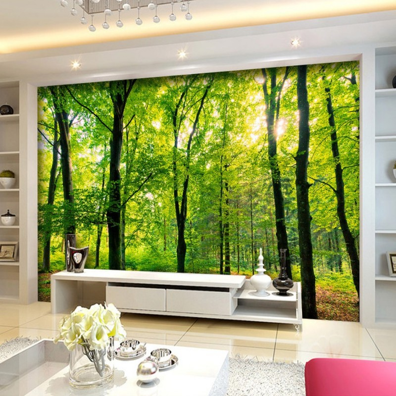 Free shipping jungle rainforest landscape tv bedroom for 3d wallpaper for home amazon