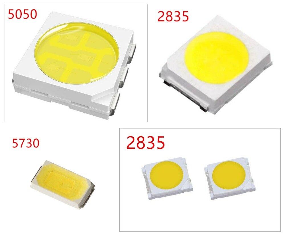 500 pcs/lot 0.2 W 2835 5050 lampe à LED perle blanc/blanc chaud 0.5 W 5730 SMD LED perles puce LED DC3.0-3.4V pour toutes sortes de lumière LED